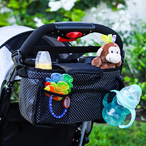 Monster Tots Baby Stroller Diaper Organizer Bag - Waterproof 420D Polyester - Light Weight Design - 2 Insulated Bottle Holder Pockets - Cell Phone Pocket by MONSTER TOTS (Image #5)