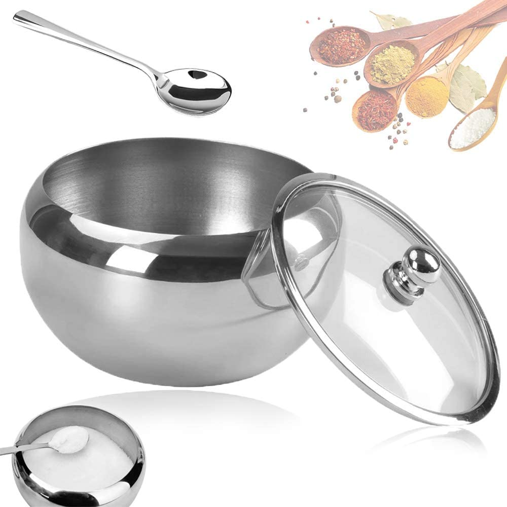 18/8 Stainless Steel Sugar Bowl,Drum Shape Sugar Bowls with Clear Lid and Spoon,Sugar Container Bowl for Kitchen,Home,Salt,Pepper,Spices,10 Ounces/300 Milliliter,SUS304