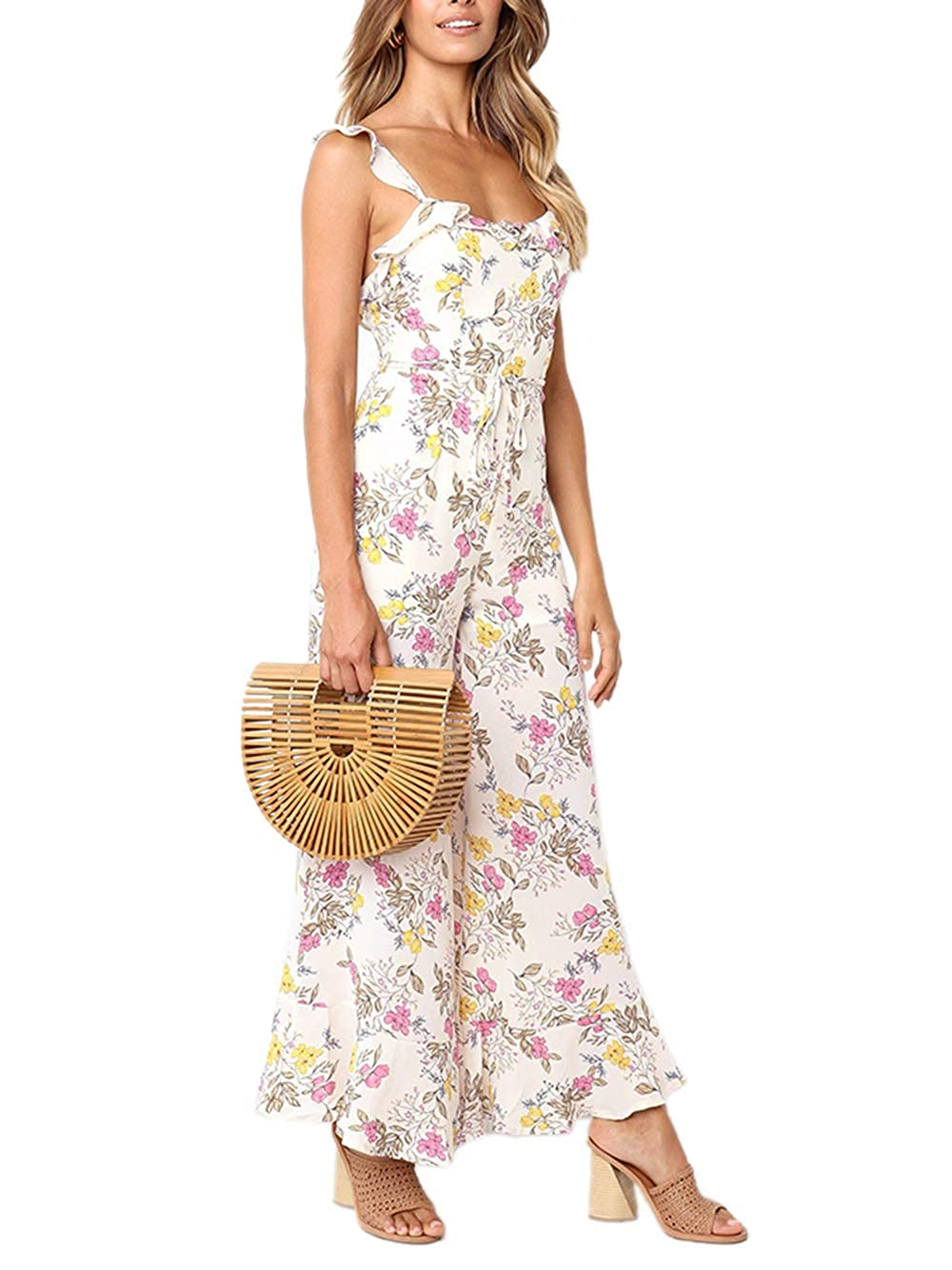 26d23da154075c Amazon.com: Yizenge Women's Casual Floral Print Wide Leg Jumpsuit  Sleeveless Ruffle Strappy Long Pant Rompers: Clothing