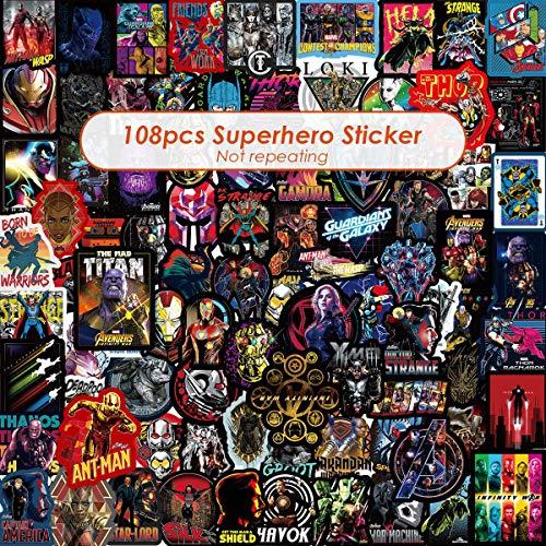 Marvel Avengers Laptop Stickers Decal-108pcs Waterproof Graffiti Stickers Water Bottle Vinyl Sticker Decals for Superheros,MacBook Car Helmet Bike Motorcycle Bumper (Not Random)]()