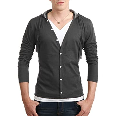 AutumnFall Men's Long Sleeve V-Neck Solid Slim Fit Button Down Shirts