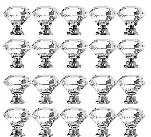 Magik 20Pcs Crystal Glass Cabinet Knob Diamond Shape 30mm Drawer Cupboard Handle Pull (Transparent)