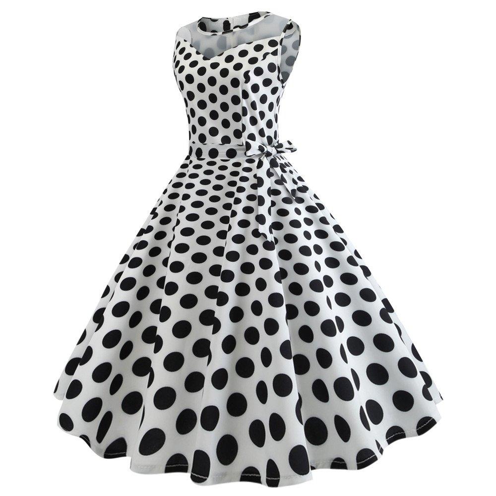 Nmch Women's Vintage Plaid Dot Print Sleeveless Mesh Patchwork Midi Dresses with Belt Summer Empire Swing Dress(White,XL)