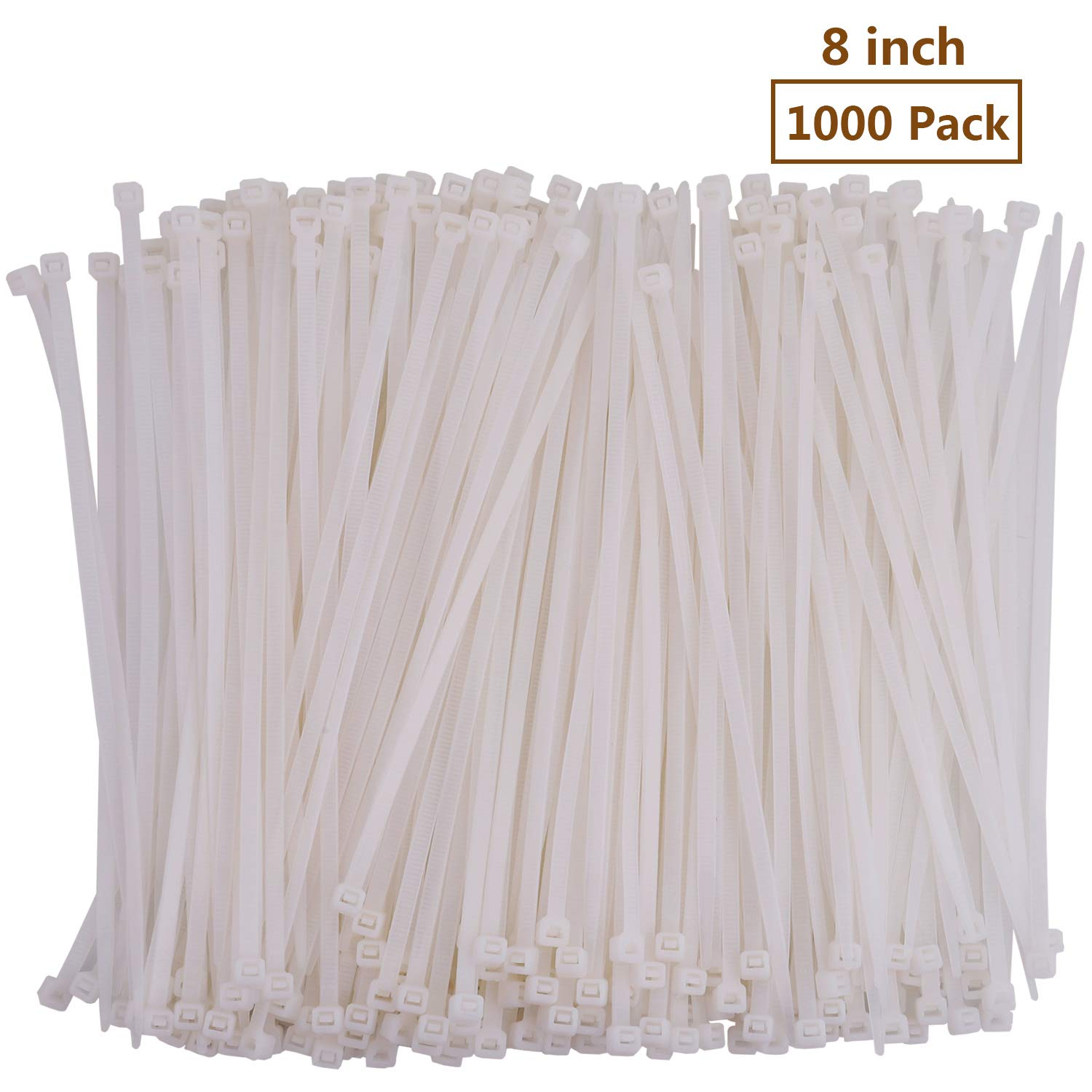 8'' White Cable Zip Ties, Premium Nylon Wire Management Ties 50 LB Tensile Strength (8 Inch, White, 1000 Pack)