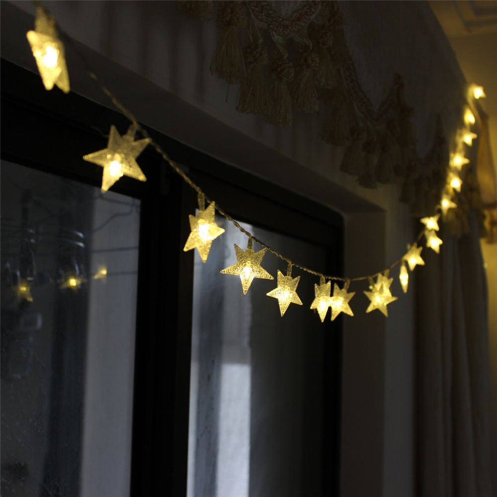 TINNZTES New Warm White 4m/13ft 40 LED Star Light Fairy String Light for Hotel Home Weddings Family School Party (Warm White)