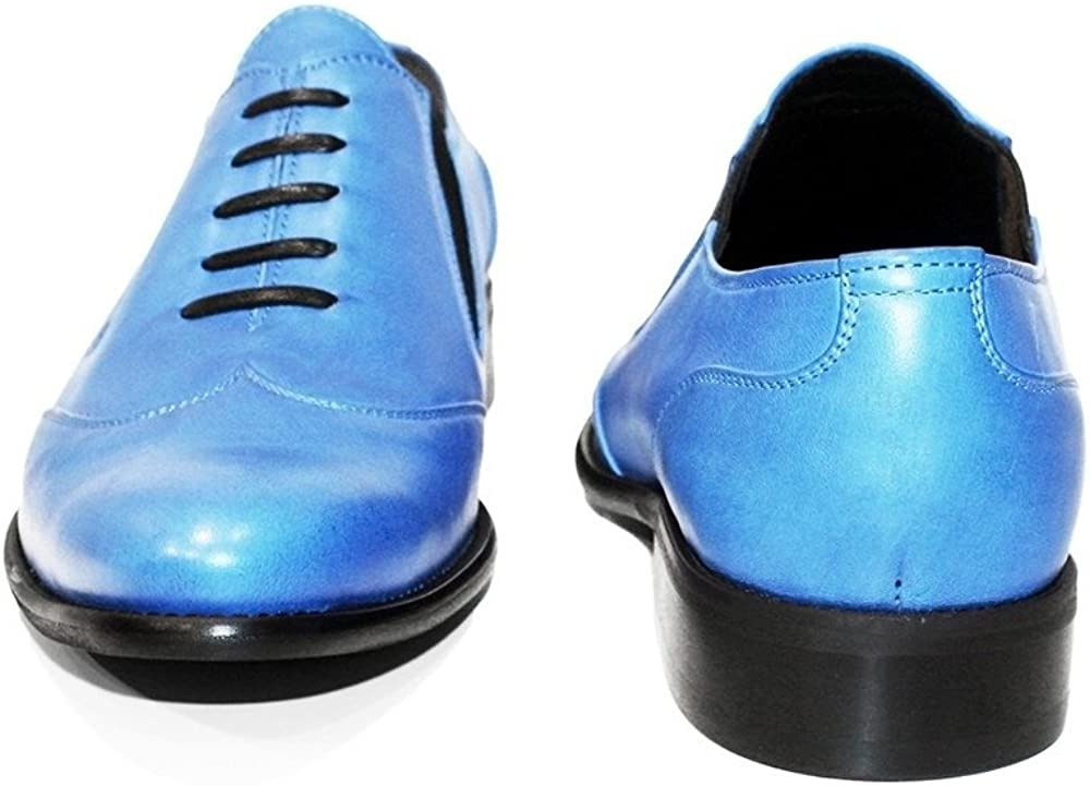 Cowhide Smooth Leather PeppeShoes Modello Blukko Handmade Italian Mens Color Blue Moccasins Loafers Slip-On