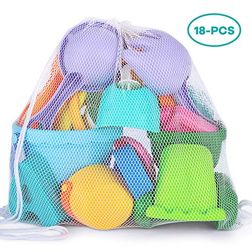 YIZI Beach Toy Set - Soft Mesh with Backpack Mesh Bag - Over Fun Sand Toys Set for Girls and Boys Kids Outdoor Toys - Girls Fun Pack