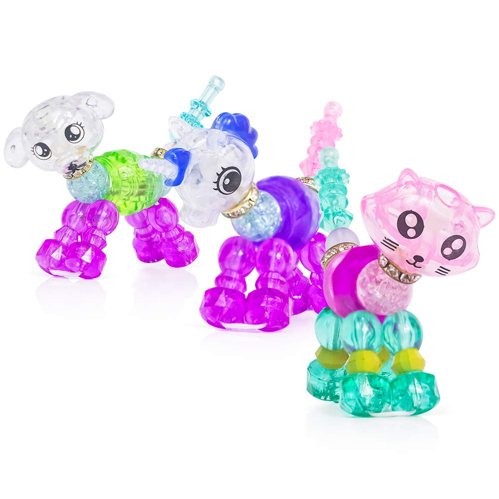 Casinal Magic Animal Twist Bracelets Gifts for Girls - 3 Pack Unicorn & Kitty&Horse Collectible Deformed Pets Twist Bracelets Gifts for Kids, Make a Colorful Bracelets or Twist into a Pet