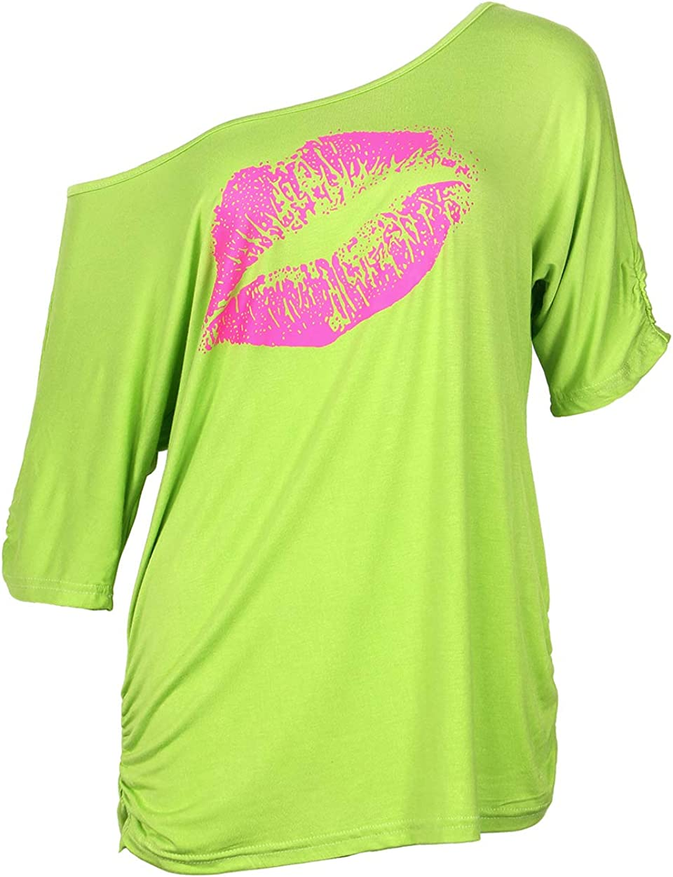 1980s Clothing, Fashion | 80s Style Clothes Smile Fish Women Casual Oversized Sexy Lips Print Off Shoulder T-Shirt $18.99 AT vintagedancer.com