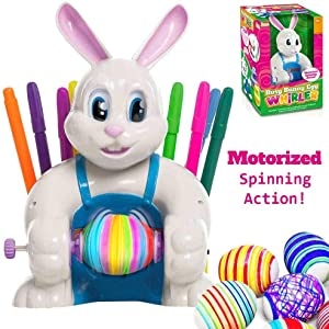JOYIN Klever Kits Motorized Easter Egg Decorator Kit Battery Driven Busy Bunny Egg Whirler Easter Egg Spinner Decorating Machine with 10 Colorful Non-Toxic Markers