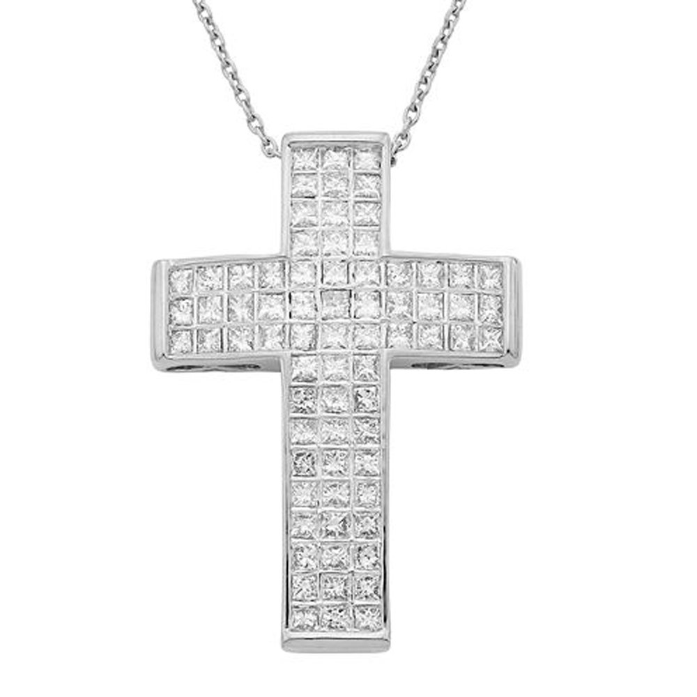 TrioStar 10K White Gold Over Princess Cut Diamond Small Domed Cross Pendant 1.75 Cttw