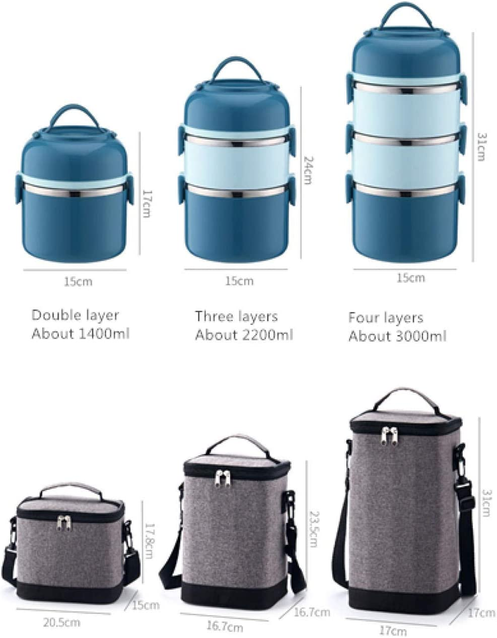 for Office School and Home Use Lunch Box Insulated//bento Box Lunch Box Includes Lunch Box 1 Pieces /& Cutlery 4 Pieces and 1 Insulated Lunch Bag Blue 2 Layers 1400ml