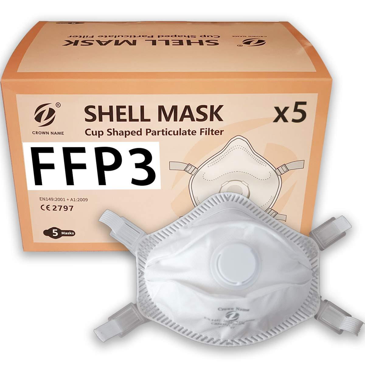 5x mascarillas de respiración FFP3, mascarillas de protección facial con válvula, certificado CE, paquete de 5 mascarillas