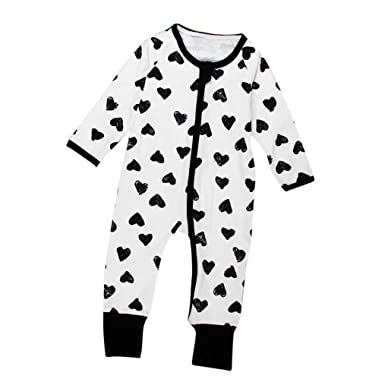 ec9c62b3 iumei Unisex Onesies Newborn Baby Heart Printing Long Sleeve Zip up  Jumpsuit Romper (0-