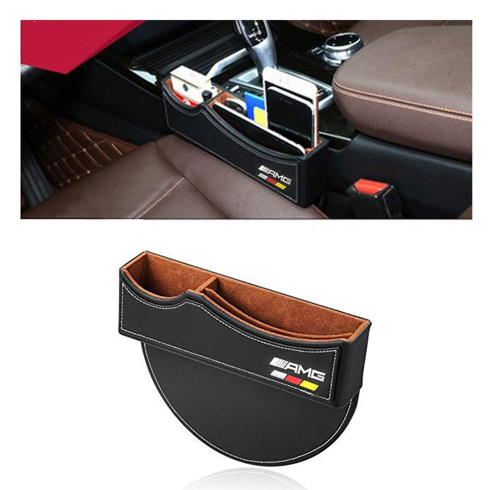 1 Pack TOMSEN Car Seat Gap Filler Premium PU Full Leather Seat Console Organizer Car Seat Storage Box for Mercedes Benz AMG