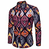 TWIFER Mens Casual Long Sleeve T-Shirt Loose Business Slim Fit Shirt Print Blouse Top Tees (Purple 1,M)