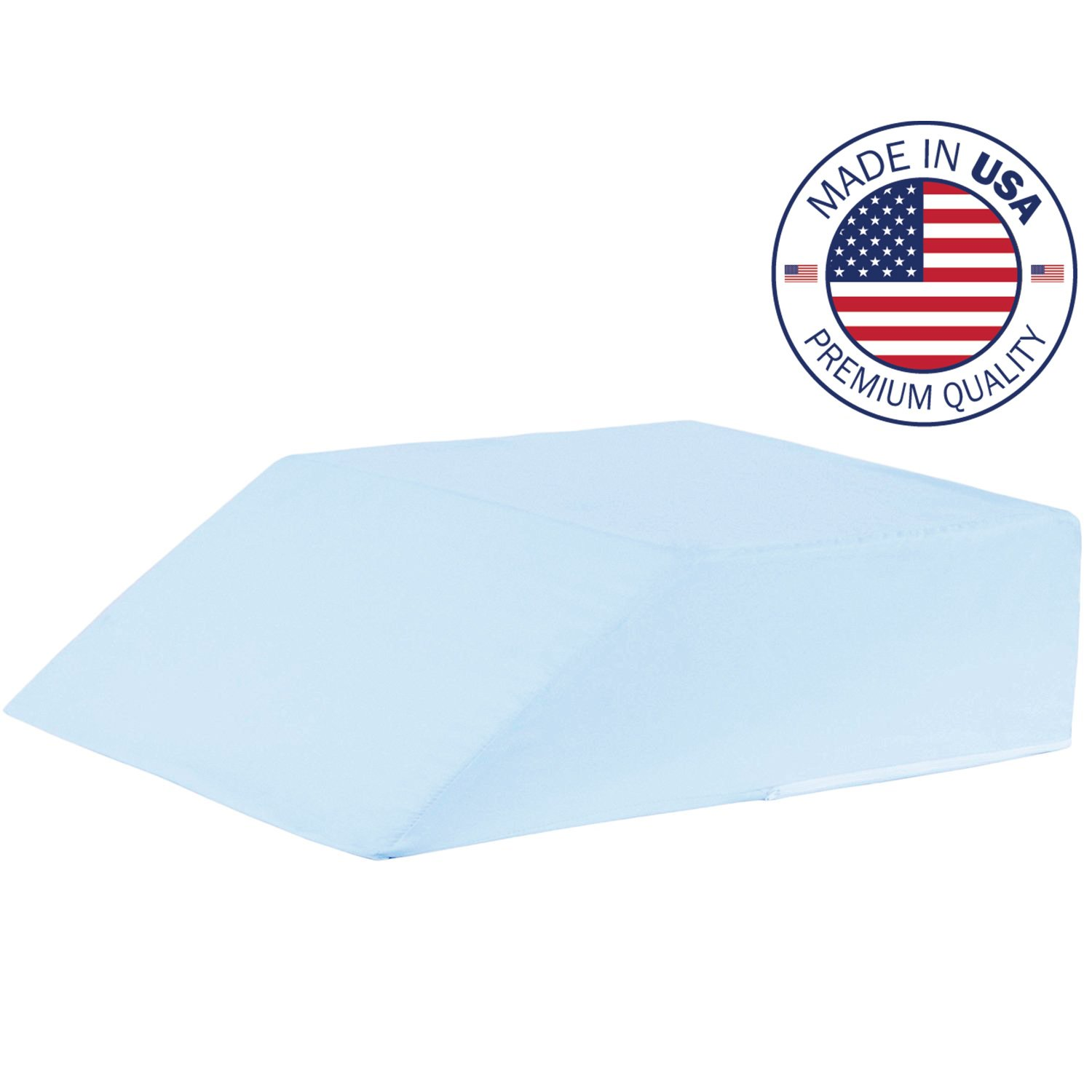 Vaunn Medical Ortho Bed Wedge Leg and Body Pillow 8'' x 20'' x 24'' with Blue Polyester/Cotton Cover