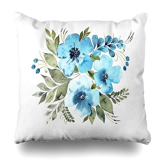 Ahawoso - Funda de cojín con diseño Floral de Cachemira Azul ...