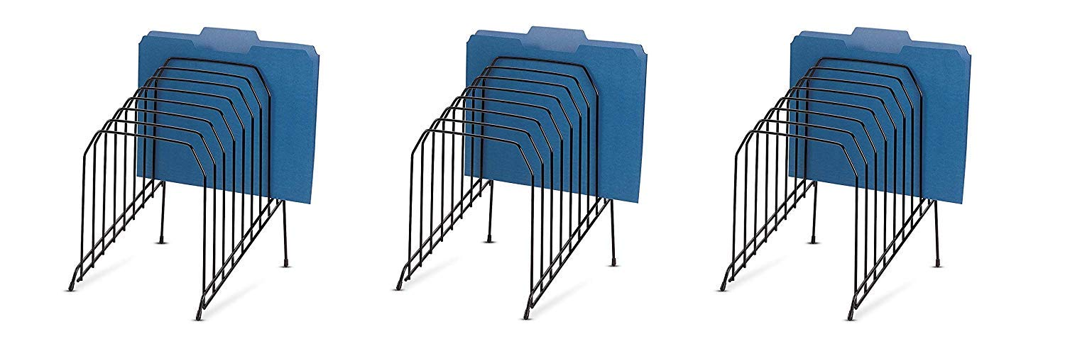 Officemate Large Incline Sorter, 8 Compartment, Wire, 8.5 x 10.375 x 12.625 Inches, Black (25212) (Pack of 3) by Officemate