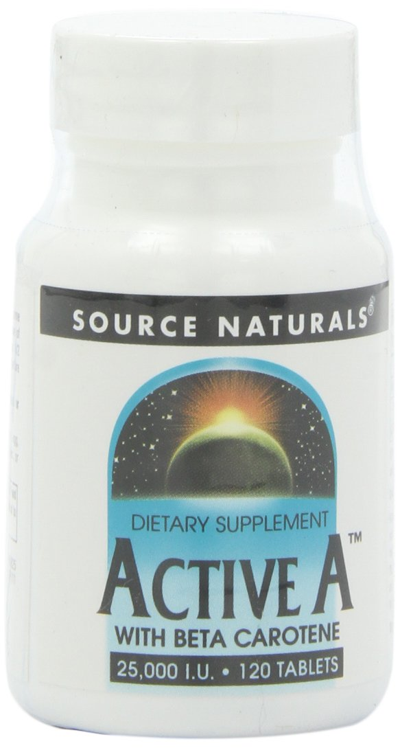 Source Naturals Active A with Beta Carotene 25,000IU, 120 Tablets (Pack of 2)