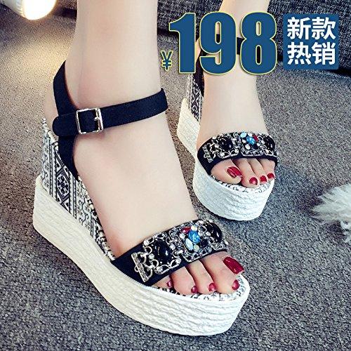 Alto UK4 Una SHOESHAOGE Gruesos De Zapatos Talón del Mujer Alumnas Pendiente Bizcocho EU35 Sandalias Zapatos con xYZaAFZq