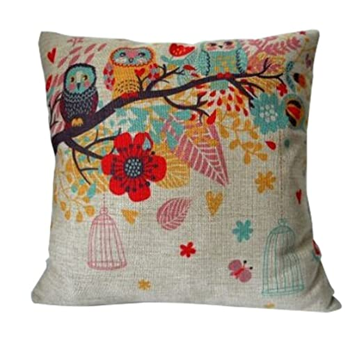 """Cotton Linen Square Decorative Throw Pillow Case Cushion Cover Owls with Birdcage 18 """"X18 """""""