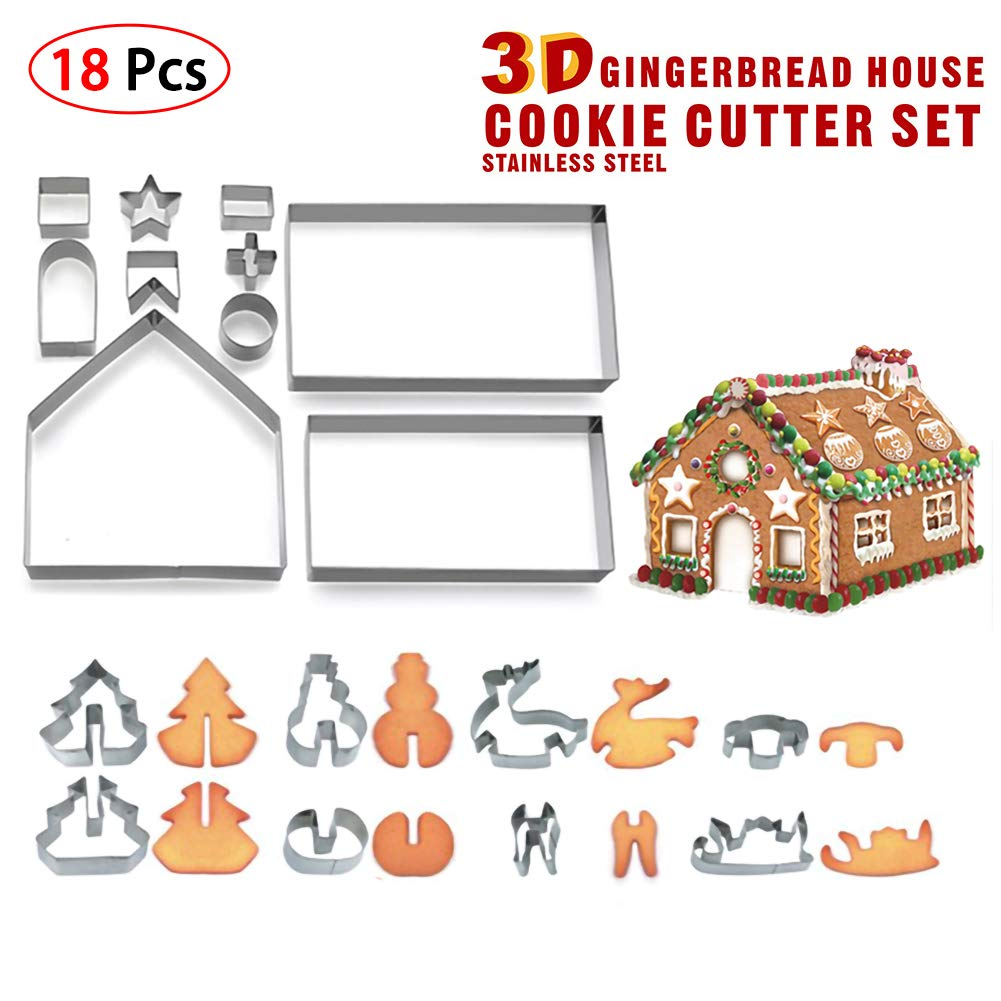 NZNNXN 10//18PCS 3D Cookie Mold Creative Stainless Steel Christmas 3D Type Cracker Cookie Mold Candy Making Molds