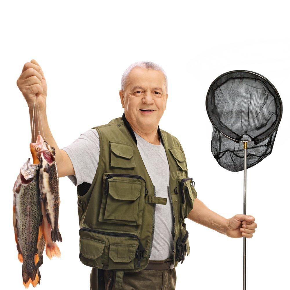 VPROZ Retractable Fishing Net For Men & Women | Telescoping & Non-Slip Rubber Handle, Deep Net & Stainless Steel Rod | For Aquarium, Lakes, Ponds, Saltwater & Fly Fish, Kayak, Boat & More