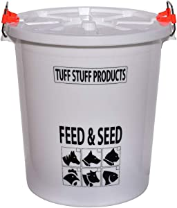 Tuff Stuff Products FS12 12 Gallon Seed and Animal Feed Heavy Duty Plastic Drum Bucket with Lock Lid for Dogs, Cats, Chickens, Cows, and Horses