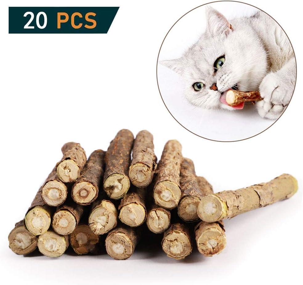 OneBarleycorn - Palitos de Catnip para Gatos, Juguete para morder para Gatos 100% orgánico Natural Matatabi Dental Treats, Paquete de 20 Unidades
