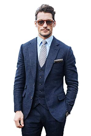 2da7a0d37b8 High-End Wool Tweed Vest Brown Herringbone Mens Suit Checked Modern Fit  Prom Blazer 3 Pieces Green Tweed Suit Big and Tall at Amazon Men s Clothing  store
