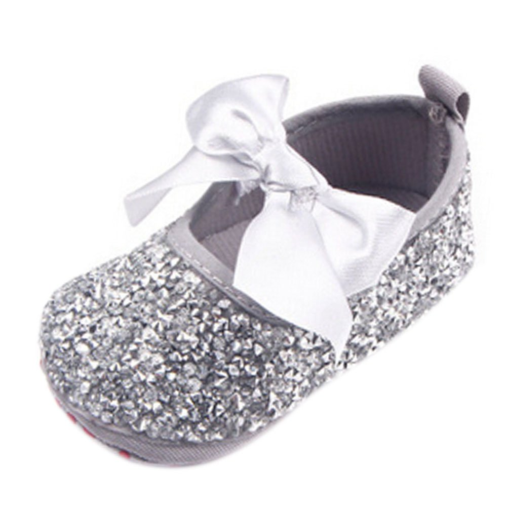 Newborn Baby Bow Diamonds Bling Mary Jane Toddler Prewalker Shoes Silver 0-6 Months