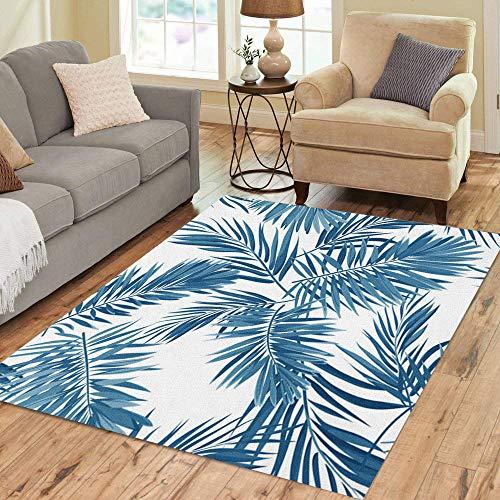 Pinbeam Area Rug Indigo Blue Pattern Monstera Palm Leaves on Dark Home Decor Floor Rug 5' x 7' Carpet