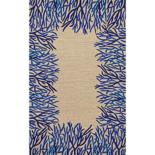 - Liora Manne Spello Coral Border Rug,Indoor/Outdoor,  5-Feet by 7-Feet 6-Inch, Cobalt