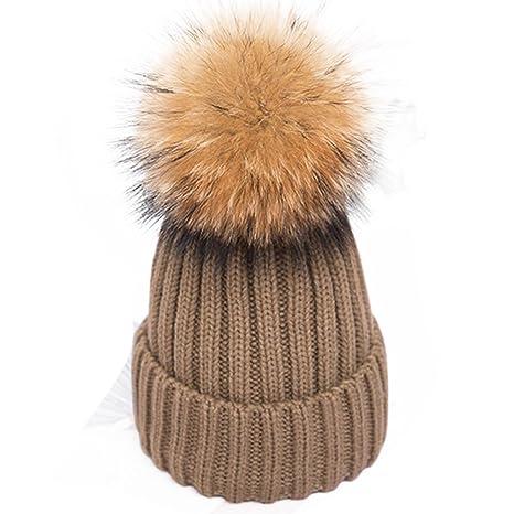 bonice Unisex Berretto Con Pompon Pelliccia Inverno per bambini  collegamento a maglia Bambino Inverno Lana Maglia c8559ee5cf5a