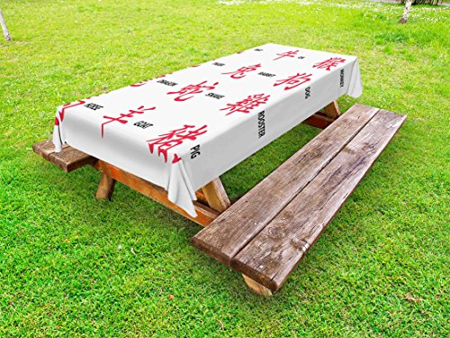 Lunarable Astrology Outdoor Tablecloth, Chinese Astrology for Horoscope Person Elements Future Illustration, Decorative Washable Picnic Table Cloth, 58