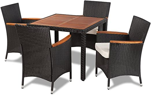 Festnight Set Muebles Conjunto Mesa y Sillas de Poli Ratán para Jardín Patio Color Negro: Amazon.es: Jardín