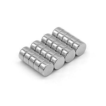 DESPANO 20 imanes, imanes, 8 x 3 mm, fuerza adhesiva extrema N45, en forma de disco / imanes para pizarra / imanes para nevera / imanes para tablero / ...