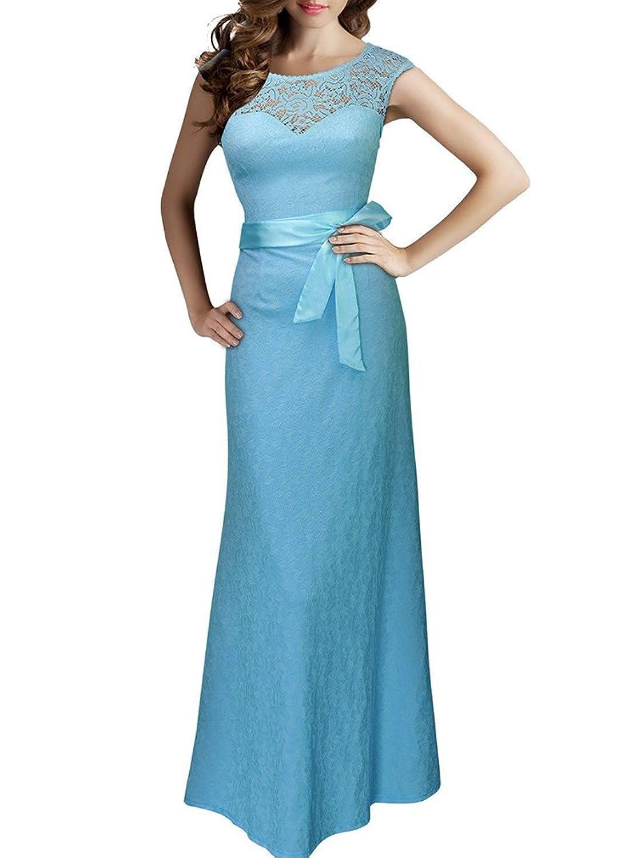 BININBOX Damen Elegant Sommer Trägerkleid Rückenfrei Ärmlos Rundhals Cocktailkleid Abendkleid Spitzen Langes Kleid