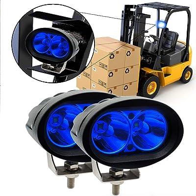 Led Forklift Safety Light, 2x Blue 20W Cree LED Forklift Lights 12V 24V Warning Work Warehouse Lights SpotLight For Fork Truck Security Indicator: Automotive