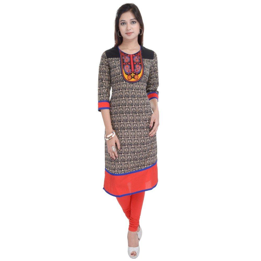Vihaan Impex Tunika Damen Kleidung Damen Indische Kleidung Kurta Damen Indische Tunika Damen Tunika VIKU2467_L