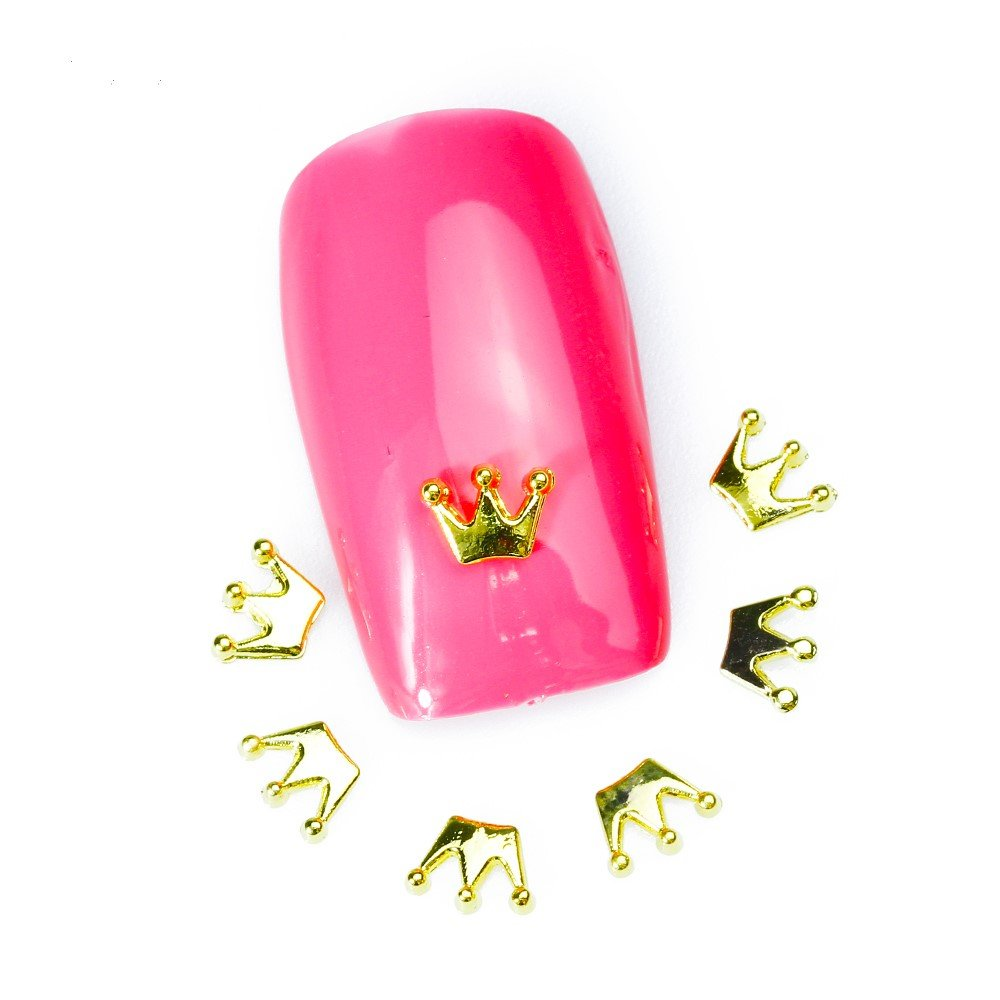 Artlalic 10 Pcs Gold Metal CROWN Nail Art Decoration DIY Jewelry 3d Design Alloy Nail Accessories