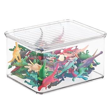 mDesign Organizador de juguetes con tapa - Cajas de almacenaje para guardar juguetes bajo la cama o en las estanterías de la habitación infantil - Juguetero ...