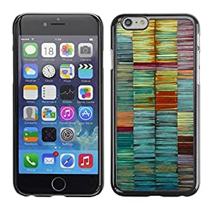 FECELL CITY // Duro Aluminio Pegatina PC Caso decorativo Funda Carcasa de Protección para Apple Iphone 6 Plus 5.5 // Colors Pastel Teal Lines Brush