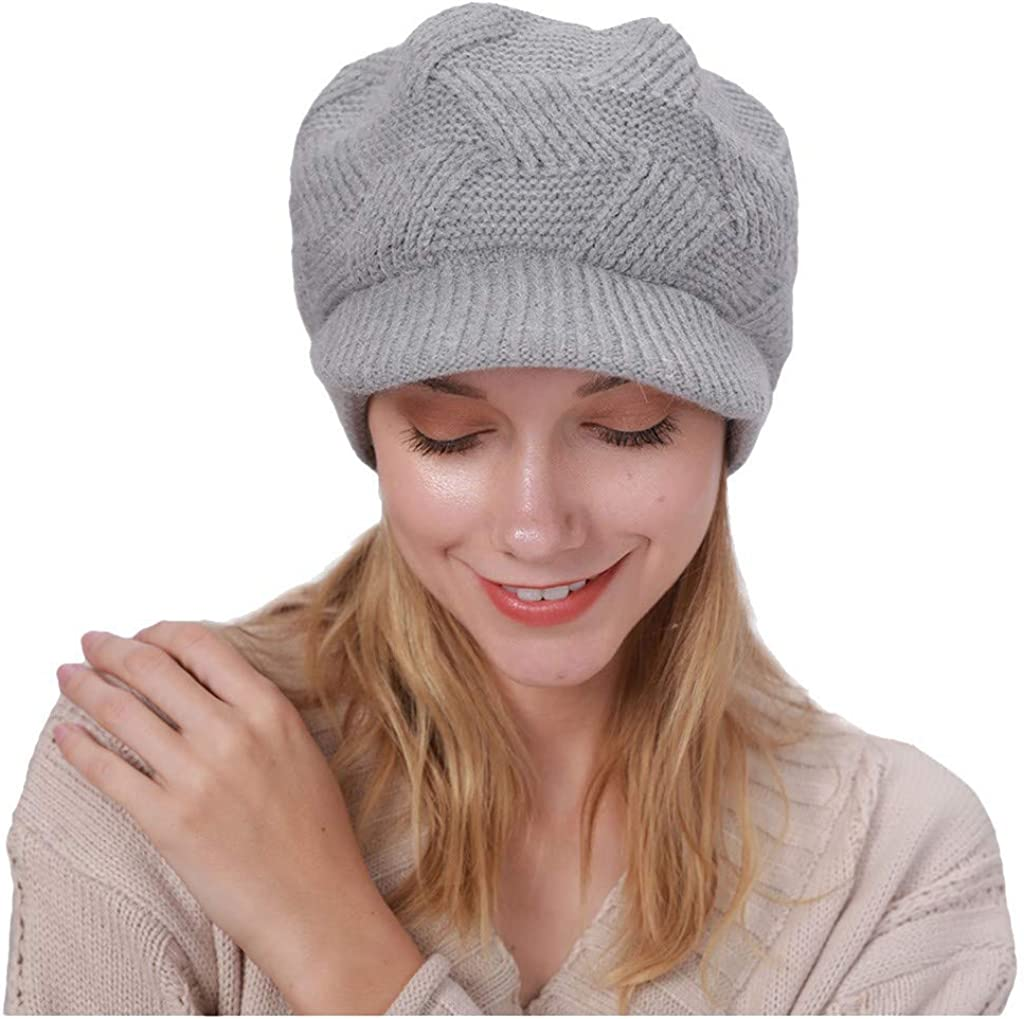 Lenfesh Barett M/ütze Damen Warm halten Winter l/ässig Baskenm/ütze Strickm/ütze Wolle Saum M/ütze verdicken Ski Hut Franz/ösisch Baskenm/ütze Schicke Winter Warm Stricken M/ütze