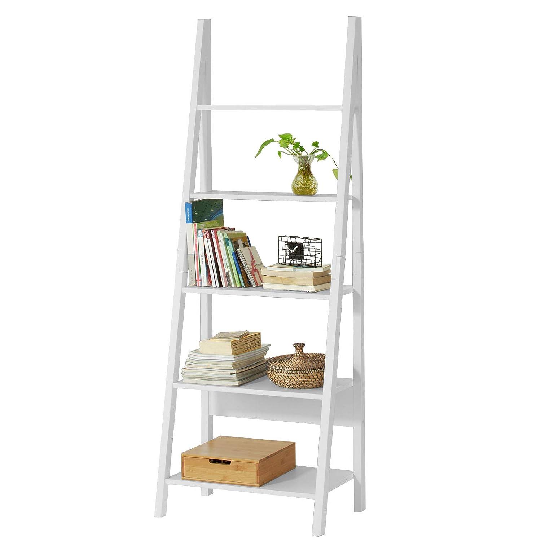 SoBuy® scaffale a scala moderno con cinque ripiani. colore: bianco FRG61-W, IT