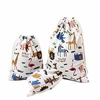 Hacoly 3 Pcs Coton Cordon De Stockage Sacs Animal Motif Faisceau Port Poche Voyage Fourre-Tout Cadeau Bonbons Sacs Bijoux Stuff Sac Poche - Petit + Moyen + Grand