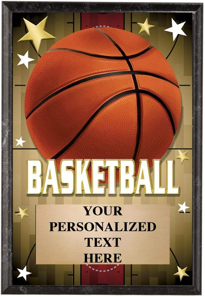 Crown Awards Basketball Plaques 5 x 7 Glow in The Dark Basketball Trophy Plaque with Custom Engraving
