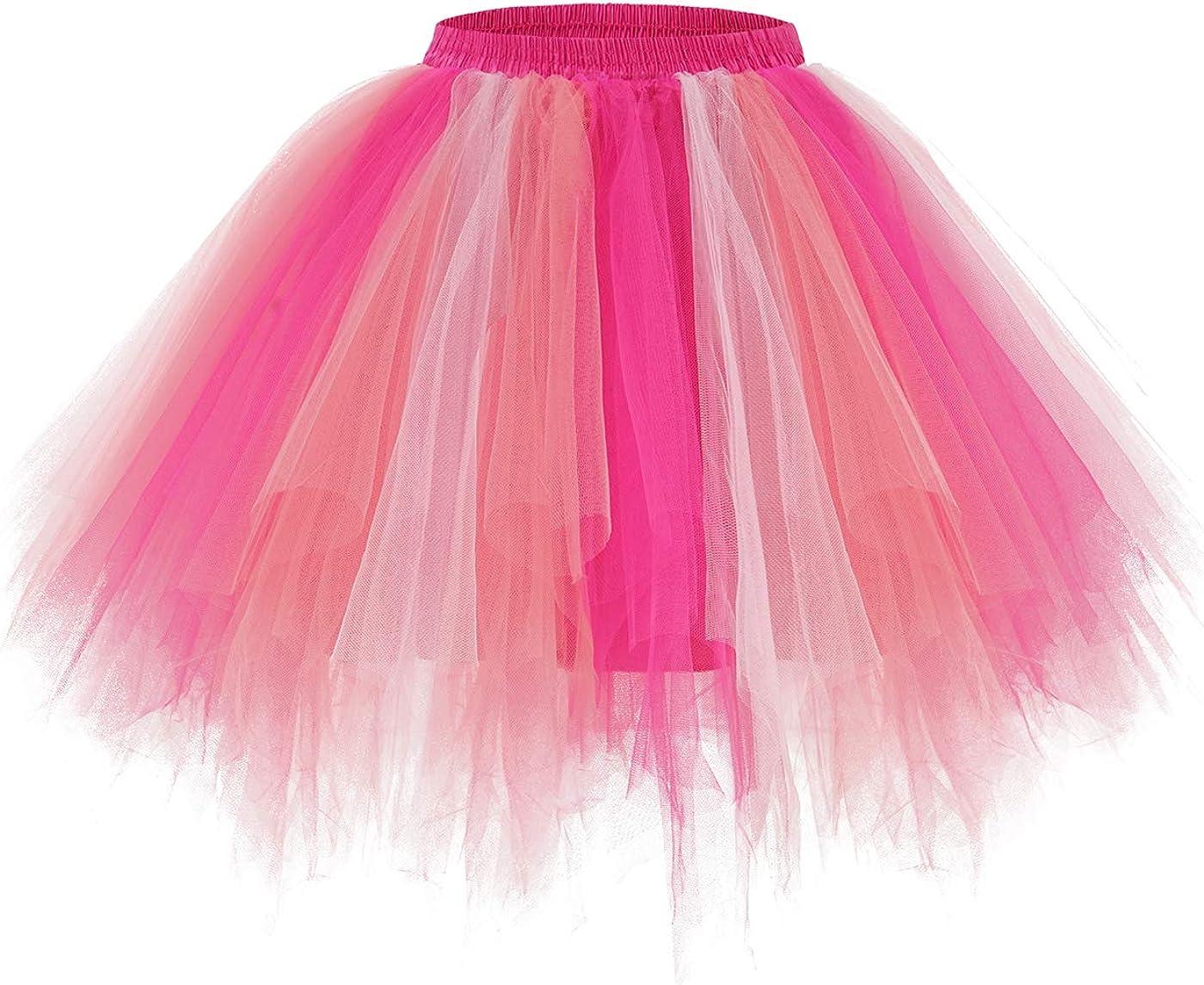 PrePretty Women's Tutu Mini Tulle Skirt 50s Halloween Party Costume Bubble Ballet Half Slip Skirt