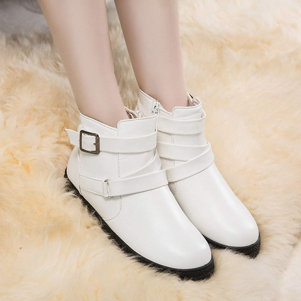 ZYEE Women Booties Round Toe Shoes Fashion Solid Warm Winter Flat Snow Short Boots Zipper Round Toe Shoes